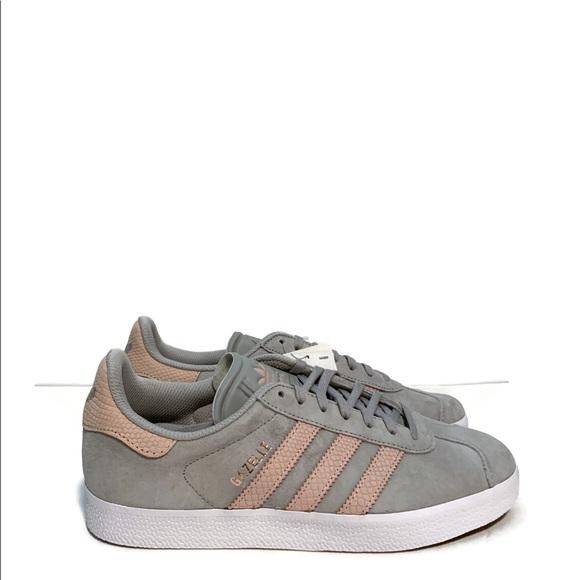 New Women's Adidas Gazelle Grey Pink Sneaker